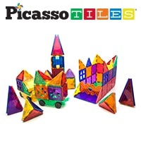 PicassoTiles 180 Piece Magnetic Tiles Deluxe Combo Toy Set