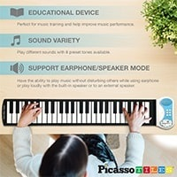 PicassoTiles PT49 Kid's 49-Key Flexible Roll-Up Educational Electronic Digital Music Piano Keyboard